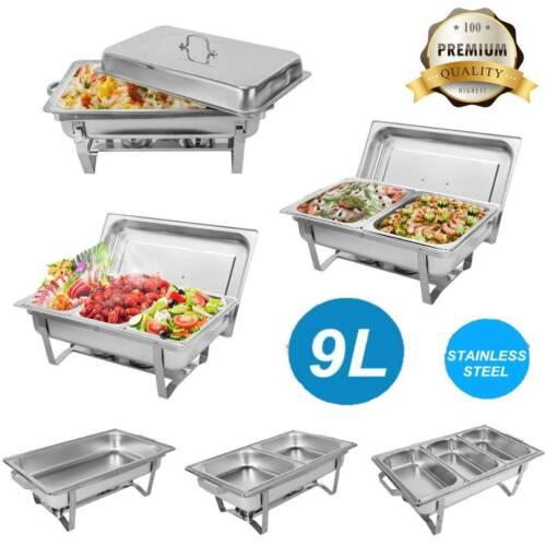 4-tlg 9L Edelstahl Chafing Dish Speisewärmer Warmhaltegerät Catering Buffet-Set