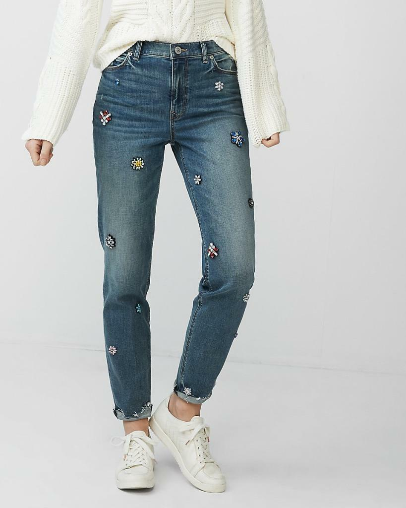 NEW  100 EXPRESS HIGH RISE GIRLFRIEND GEM EMBELLISHED BLING JEANS PANTS 4 6