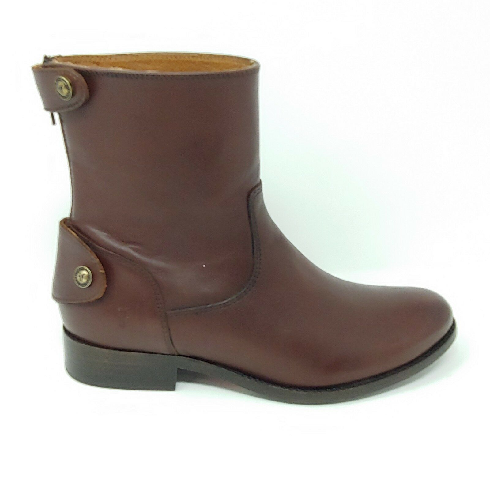 Frye Melissa Button Zip Short Ankle Leather Boots Boots Boots Redwood Brown Womens Size 8 f749eb