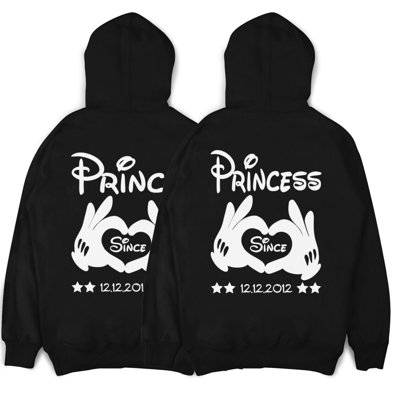 Her Prince His Princess Partner Kapuzen Hoodie Pullover im Set mit Wunschdatum