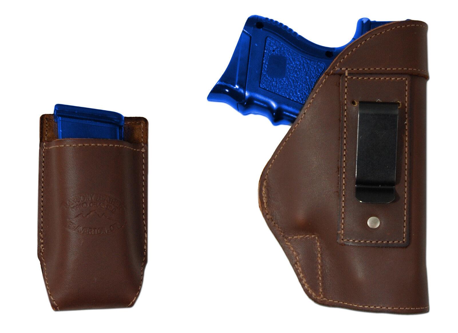 NEW Barsony Braun Leder IWB Gun Holster + Mag 9mm Pouch Bersa Compact 9mm Mag 40 45 8a9723