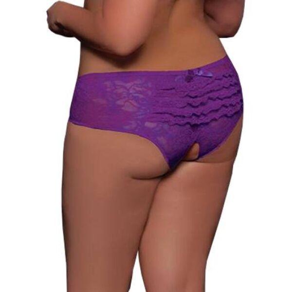 XL/XXL Damen Spitze Blumen Lila Intim Offen Slip Tanga Panty Dessous Unterhose