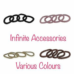 4 Spiral Coil Telephone Cord Wire Plastic Elastics Hair Band Ponytail NO TANGLE