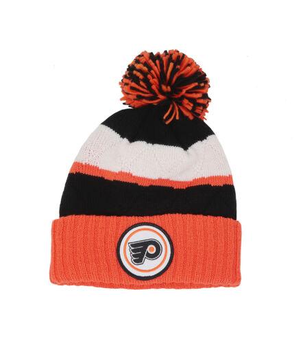 MITCHELL NESS  Philadelphia Flyers Orange Black Stripe Pom Beanie Hat Men Cap