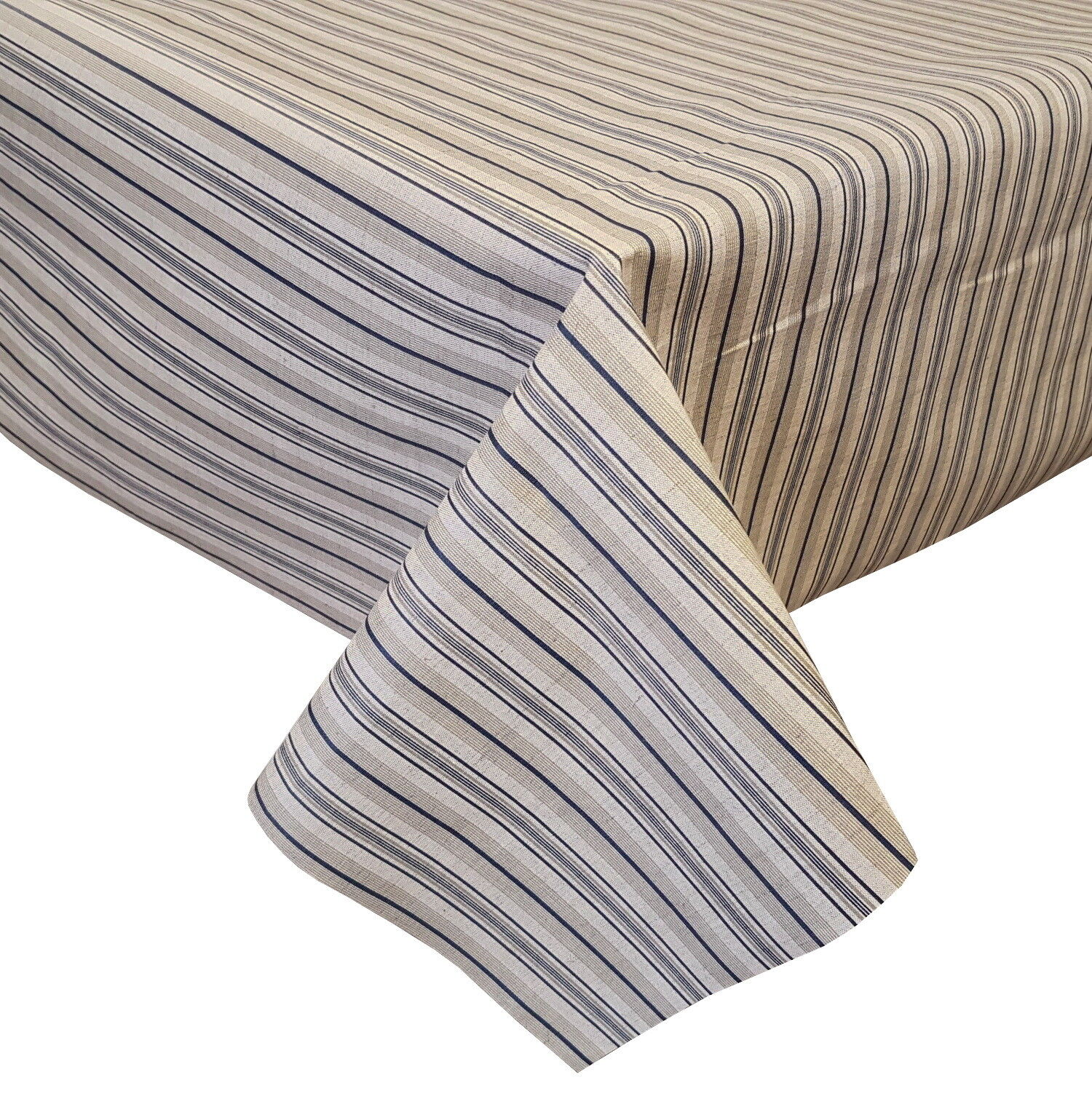 ACRYLIC COATED TABLE CLOTH TOILE STRIPES blueE LINES NAVY BEIGE NATURAL WIPE ABLE