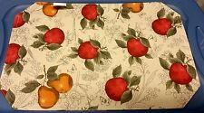 "New SET OF 4 LINEN FABRIC PLACEMATS 12"" x 18"", APPLES & PEARS"