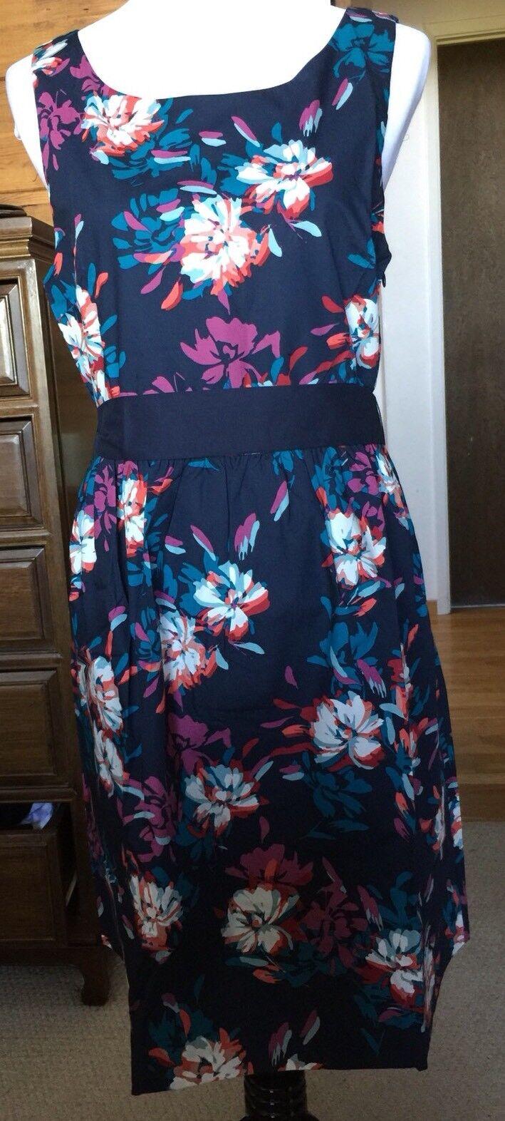 New Garnet Hill Sleeveless Cotton Floral Dress Sundress Size 14