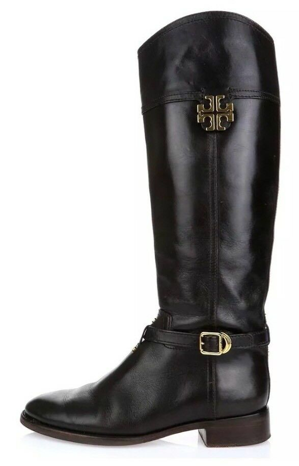 Tory Burch Eloise Leather Riding Boots Dark Brown Women Size 6M 1055