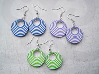 1960's Vintage Style STRIPE HOOP SP Drop Earrings Green Purple Blue White