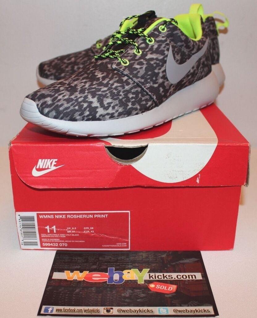 Nike roshe Run Imprimir Imprimir Imprimir De Aire Fresco Lobo gris Volt Zapatillas para mujer Talla 11 599432 Nuevos  últimos estilos
