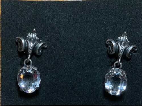 ANTIQUE STERLING CINI CRYSTAL CLIP ON DANGLE EARRI