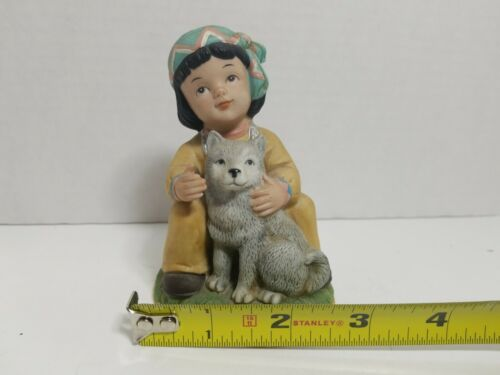 Details about  /HOMCO INDIAN BOY WITH WOLF  CERAMIC  figurine