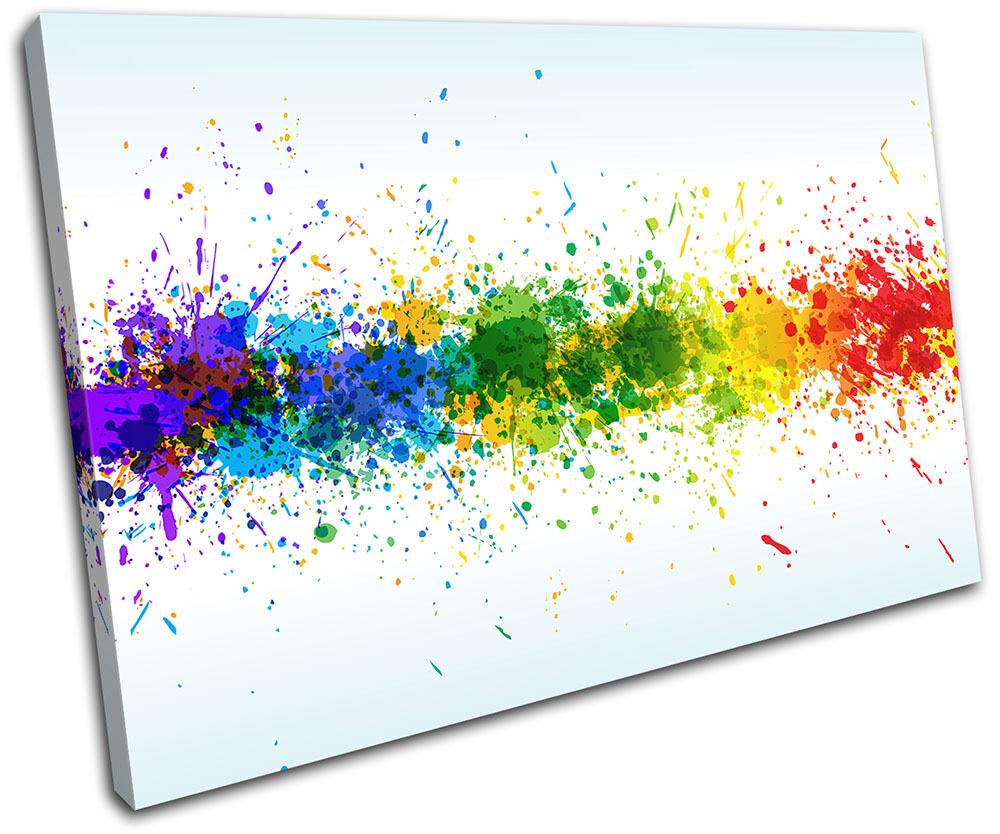 Colourful Paint Splashes Abstract SINGLE Leinwand Wand Kunst Bild drucken