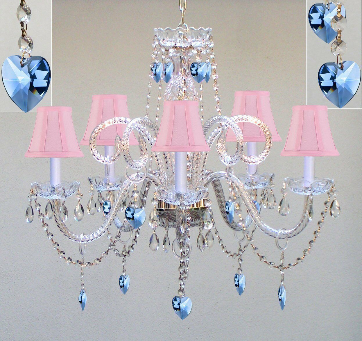 Venetian 5 Light 24 Inch Chrome Glass Pink Shades Blue Hearts Dining Chandelier Ceiling In Clear Crystals