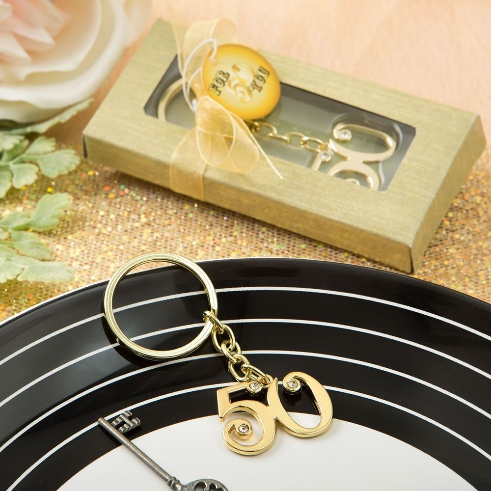 144 Gold 50th Anniversary Birthday Charm Keychain Party Gift Favors