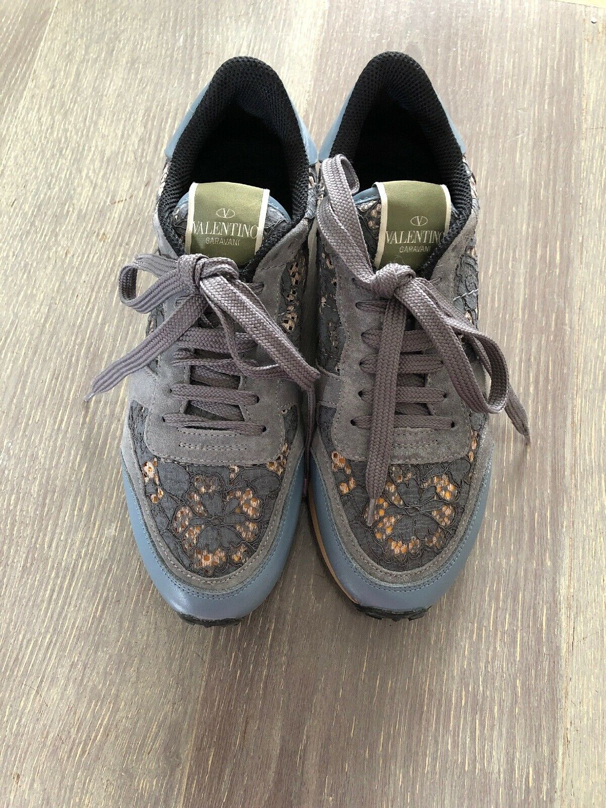 Authentic Valentino Ladies bluee Lace Trainers boots Size 38 Or 5