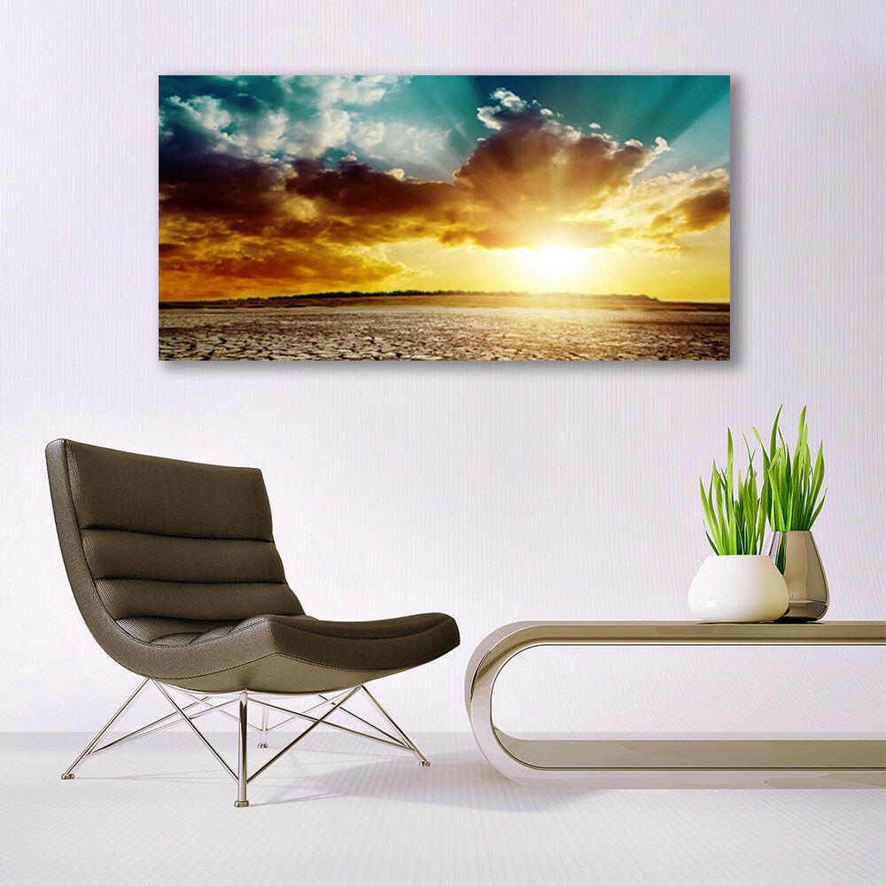 Glass print Wall art 140x70 Image Picture Picture Picture Sun Clouds Desert Landscape 7bb938