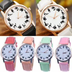 Hot-Womens-Casual-Cat-Dial-Leather-Stainless-Steel-Quartz-Analog-Wrist-Watch