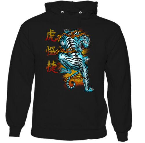 Japan Dragon Hoodie Mens Oriental Inspired Japanese Writing Tiger Animal