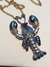 "Betsey Johnson Goldtone Lobster ""Into The Blue"" Long Pendant Necklace $65  BE9"