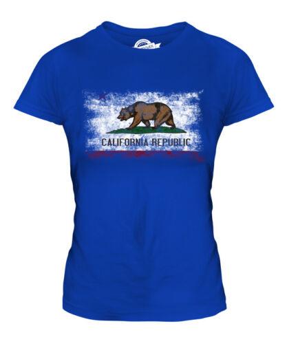 CALIFORNIA STATE DISTRESSED FLAG LADIES T-SHIRT TOP CALIFORNIAN SHIRT JERSEY