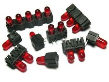 10 Stück  DH5R LED FISCHER Holder Right Angle + THT LED 5mm Red (M6540)