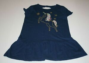 New-OshKosh-Girls-14-year-Tunic-Top-Glitter-Gold-Unicorn-Navy-Blue-Short-Sleeves