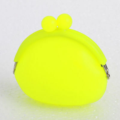 SMALL WOMENS GIRLS NEON RUBBER SILICONE COIN PURSE CASE