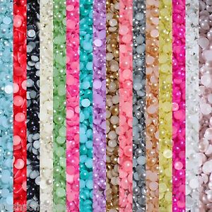 1000-Half-Pearl-Beads-Flat-Back-Craft-Scrapbooking-Choose-Your-Color-And-Size
