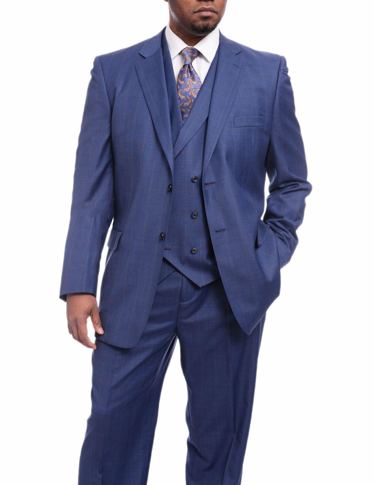 Mens 50L Steven Land Classic Fit Blau Windowpane Plaid Vested Wool Suit
