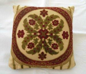 details about vintage velvet chenille throw pillow red green hollywood regency 10