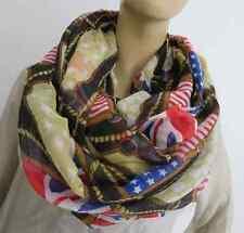NEU XXL VOLUMEN LOOP RUND SCHAL USA BRITAIN FLAG STARS STRIPES SCHLAMM 184 X 115