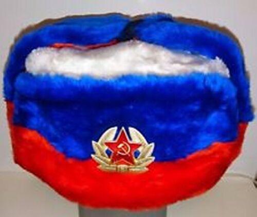 RUSSIAN SOVIET MILITARY HAT BADGE CLASSIC UNISEX USHANKA RUSSIAN FLAG SIZE 62