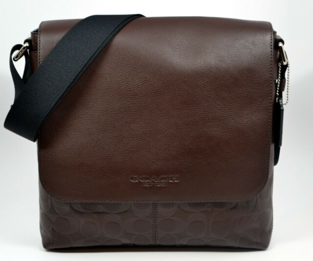 37d34094e8c ... france coach mens brown mahogany signature leather shoulder bag  messenger 43054 d3063