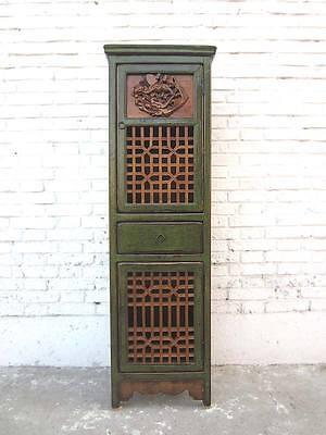Ordentlich Asien Schmaler Schrank Antikgrünes Finish Um 1900 Pinienholz