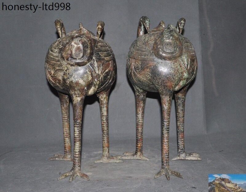 Antique Bronze China lucky 9 dragon Statue old incense burner Censer