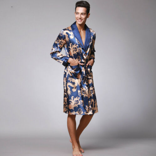Mens Chinese Japanese Oriental Gold Dragons Blue Bathrobe Dressing Gown mrobe6