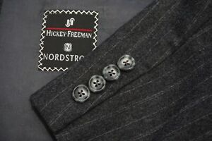 Hickey Freeman VINTAGE Gray Striped Flannel 2 Pc Suit Jacket Pants Sz 44XL