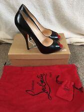 Christian Louboutin Titi 120 Black Red Calf Peep Toe Heels Uk 5.5 Eu 38.5