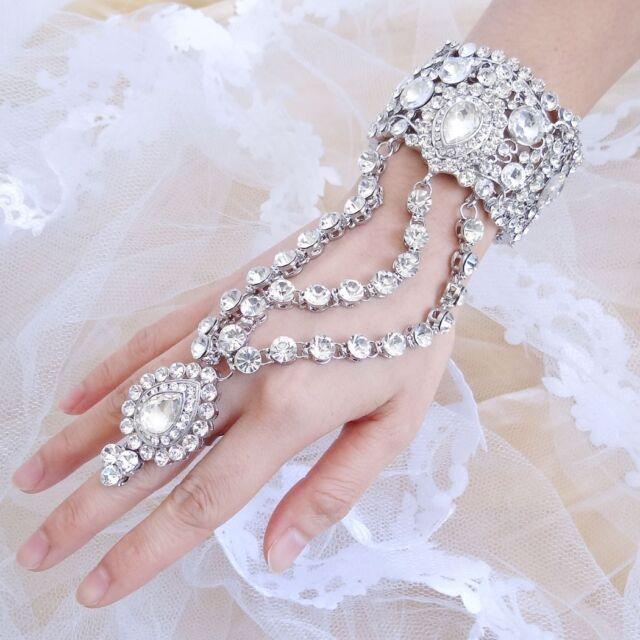 Bridal Teardrop Slave Hand Chain Bracelet Ring Austrian Crystal Clear Silver GP