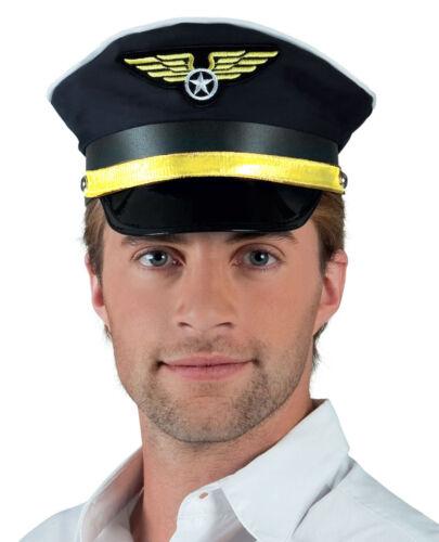 Mens Ladies Pilot Hat Cabin Crew Cap Fancy Dress Costume Party New
