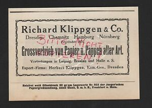 DRESDEN-CHEMNITZ-HAMBURG-Werbung-1929-Richard-Klippgen-amp-Co-Papier-Pappen