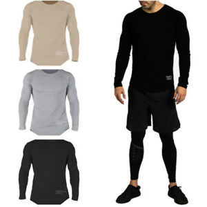 New Men's Sloid Slim Fit T-shirt Gym Fitness Running Crossfit Tee Sport Workout