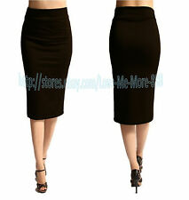Womens High Waisted Wear to Work Shift Slim Bodycon Midi PENCIL A Skirt Dress XS