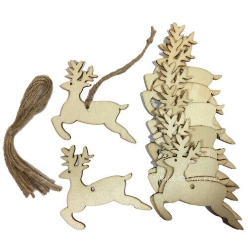 10 Christbaumschmuck Anhänger Holz Weihnachtsbaum Schmuck Weihnachten Deko Elch