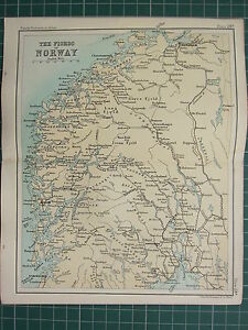 1904 SMALL MAP ~ THE FIORDS OF NORWAY ~ KONGSBERG CHRISTIANIA BERGEN TRONDHJEM