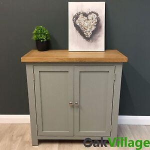 Image Is Loading Grey Painted Linen Cupboard Oak Storage Cabinet