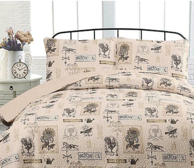 Country Farmhouse  Rustic Roosters Taupe & Tan  FULL   QUEEN Quilt (3 Piece Set)