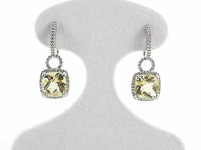 14k White Gold Diamond And Peridot Dangling Huggie Hoop Earrings