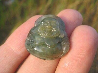 Jade stone Happy Buddha Amulet Talisman pendant jewelry art A3